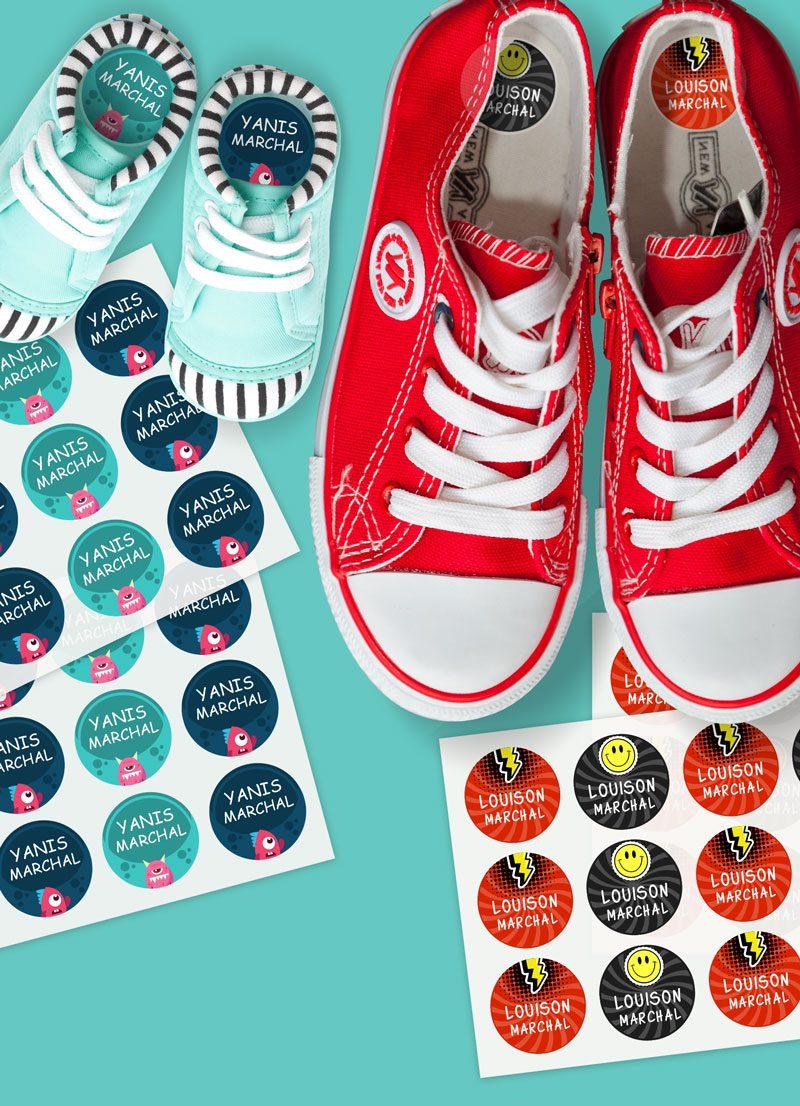 étiquettes chaussures autocollantes